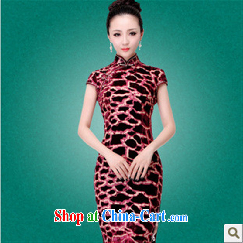 2014 improved cheongsam tortoises_scouring pads is tight improved cheongsam short-sleeved beauty_fashion cheongsam picture color XXXL