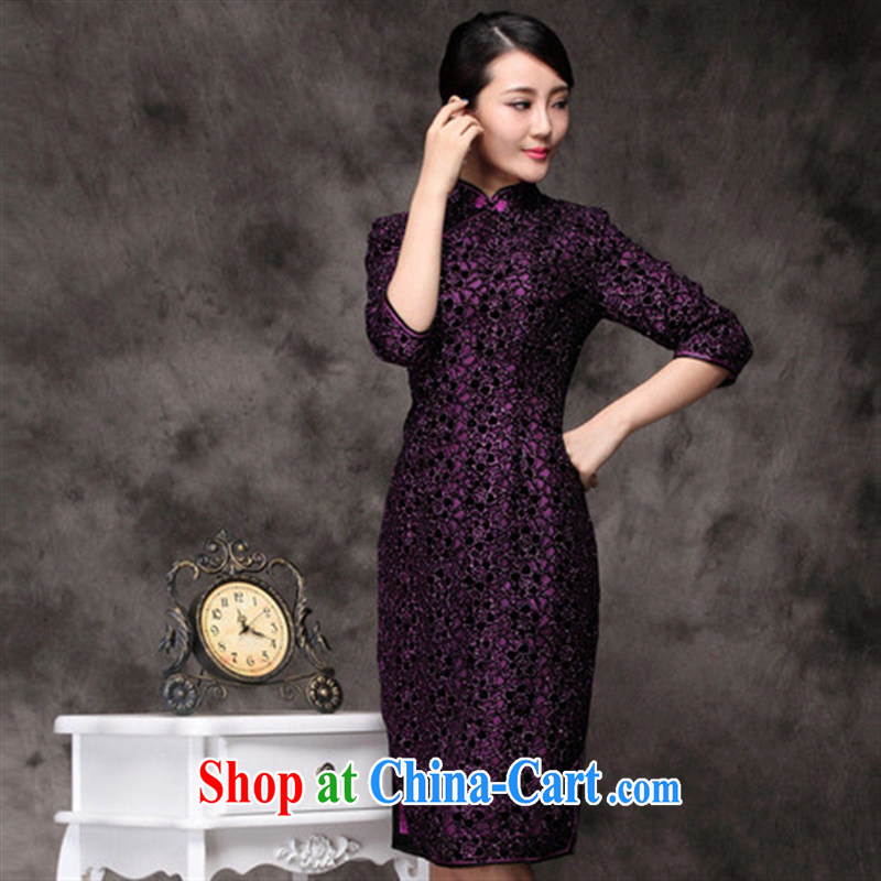 fall and winter new dresses high quality wool black flower cheongsam, long-sleeved dresses retro dresses wholesale Uhlans on XXXL