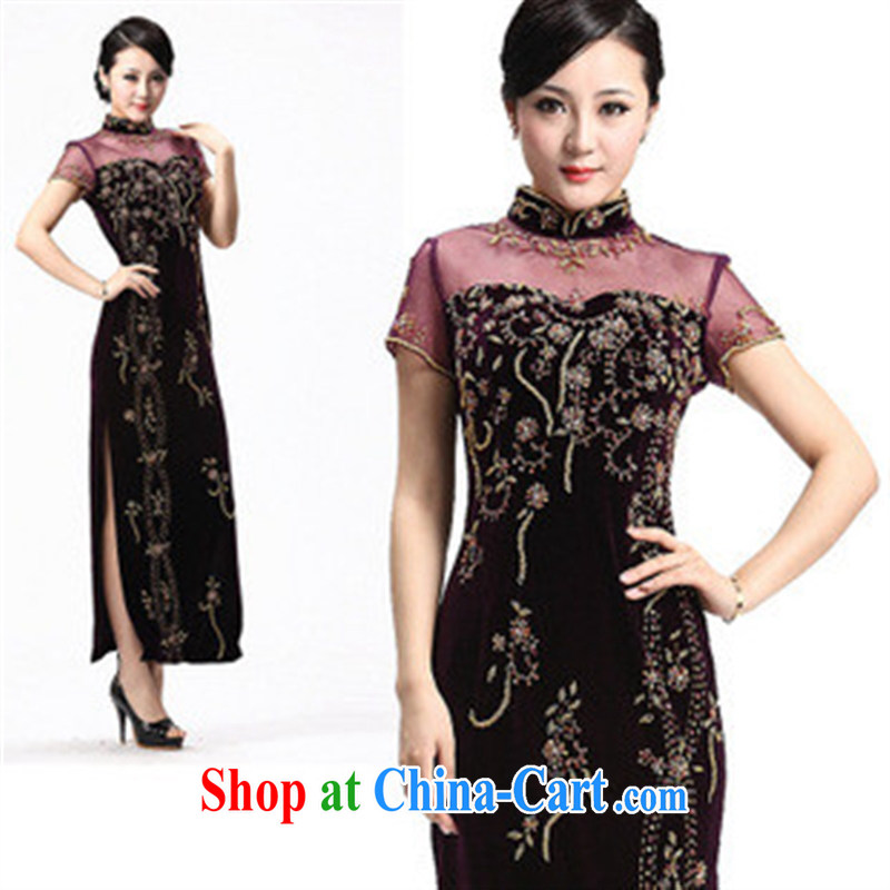 Spring 2014 new dresses, older dresses the Pearl River, really plush robes long evening dress maroon M