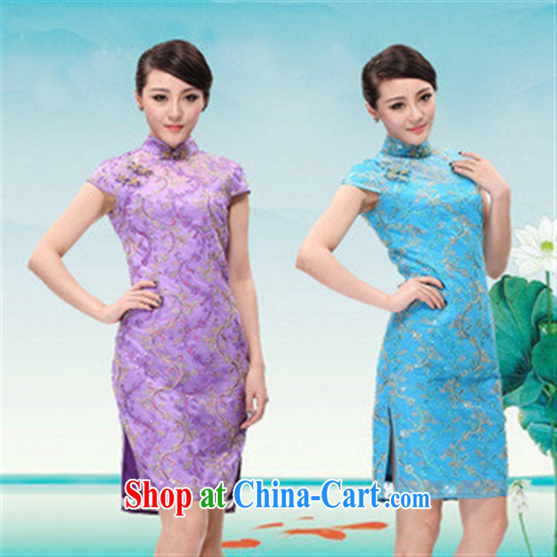 2014 new cultivating short-sleeved qipao improved retro dresses lace cheongsam dress wedding dress blue M