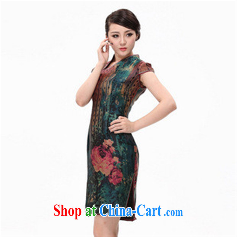 First and foremost the sauna Silk is silk incense cloud yarn dresses summer new, improved fashion cheongsam picture color XXXXL
