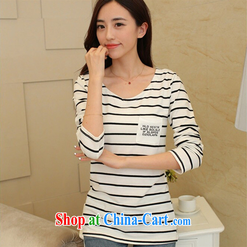 Qin Qing store 2015 spring new larger female Korean fashion Beauty Stripe graphics thin solid shirt long-sleeved shirt T female black-and-white striped XL