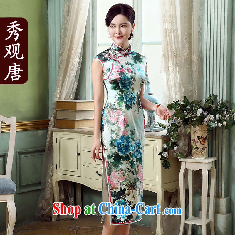 The CYD HO Kwun Tong' drunken Peony 2015 summer high quality Silk Cheongsam retro dos santos improved Silk Cheongsam QD 5315 fancy XXL