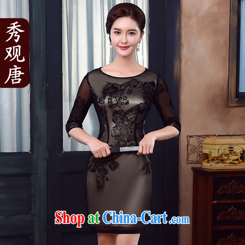 The CYD HO Kwun Tong' Silence of the night lace flocking in qipao cuff summer 2015 new retro dresses KD 5336 black XXL