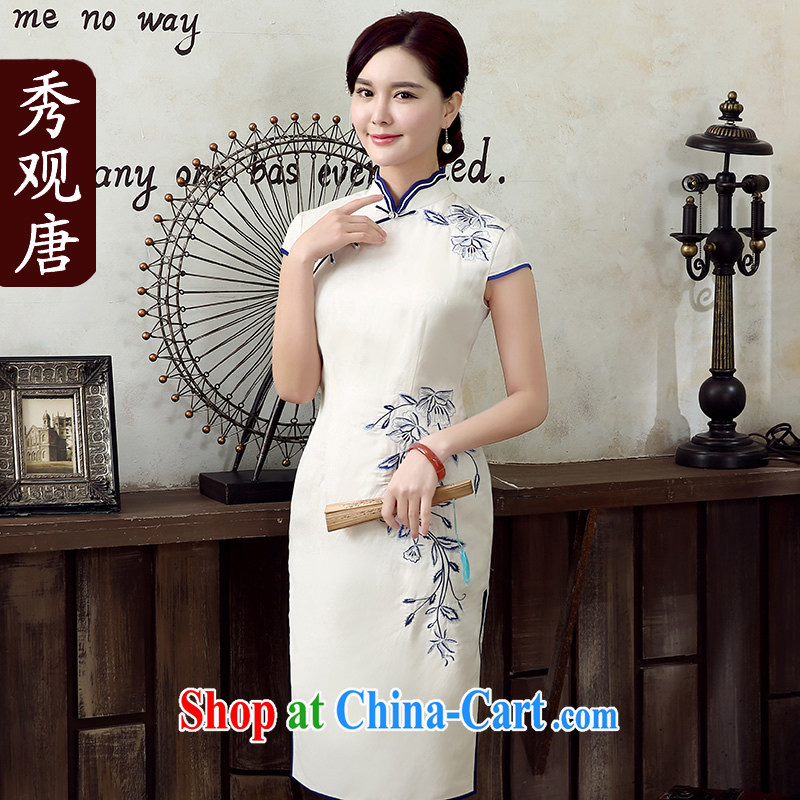 The CYD HO Kwun Tong' butterfly flower Land Day, the embroidery cheongsam summer 2015 new improved stylish dresses skirts QD 5305 white L