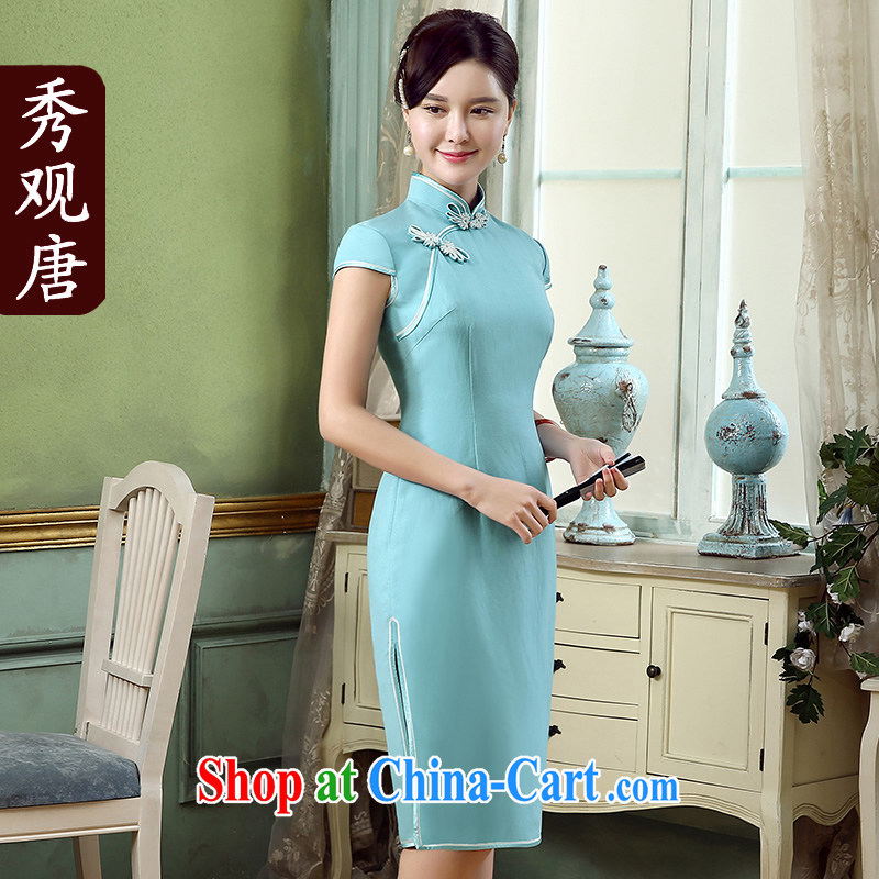 The CYD HO Kwun Tong' stunning days 2015 summer new pixel color cotton the cheongsam retro improved linen dresses QD 5319 blue XL