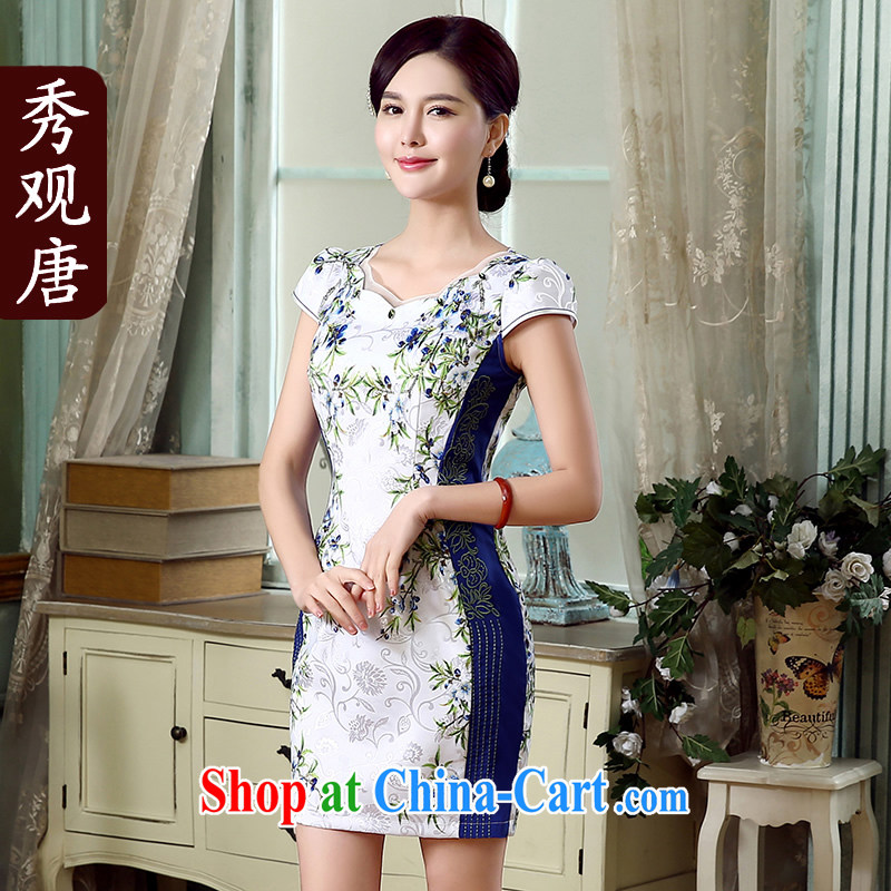 The CYD HO Kwun tong] TSUI Chi summer new cheongsam embroidered 2015 improved stylish retro dresses KD 5314 fancy XXL