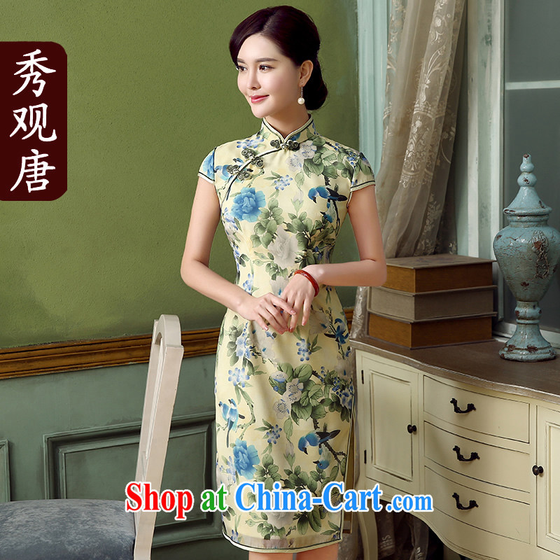 The CYD HO Kwun tong- Tsui film retro stamp cheongsam dress summer 2015 new improved stylish dresses QD 5321 fancy XXL