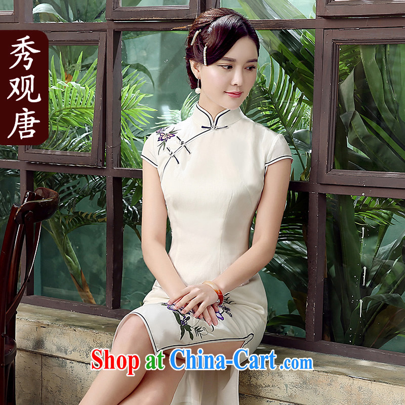 The CYD HO Kwun Tong' Purple Garden Petunia 2015 upscale Silk Cheongsam Yau Ma Tei summer new improved antique cheongsam dress QD 5308 white XXL