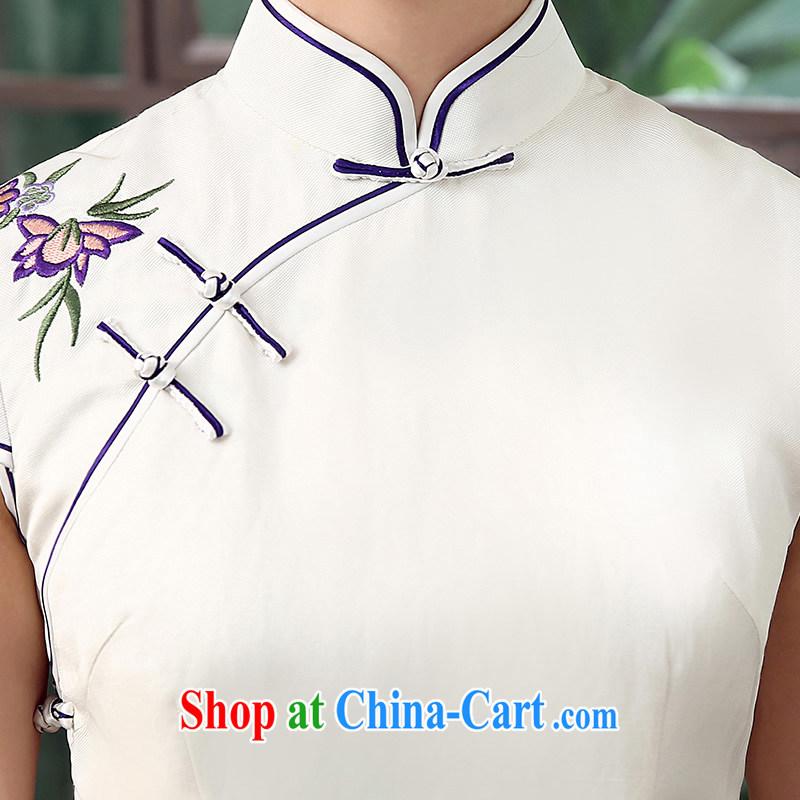 The CYD HO Kwun Tong' Purple Garden Petunia 2015 upscale Silk Cheongsam Yau Ma Tei summer new, improved antique cheongsam dress QD 5308 white XXL, Sau looked Tang, shopping on the Internet