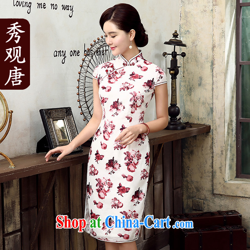 The CYD HO Kwun Tong' first fall 2015 summer new cotton the cheongsam retro stamp improved fashion cheongsam QD 5302 red XXL