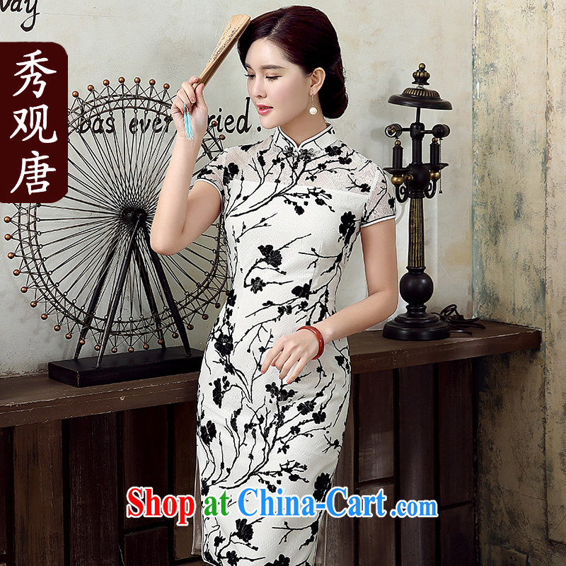The CYD HO Kwun Tong' white jade 2015 summer new flocking lace cheongsam improved fashion cheongsam dress QD 5309 black and white L