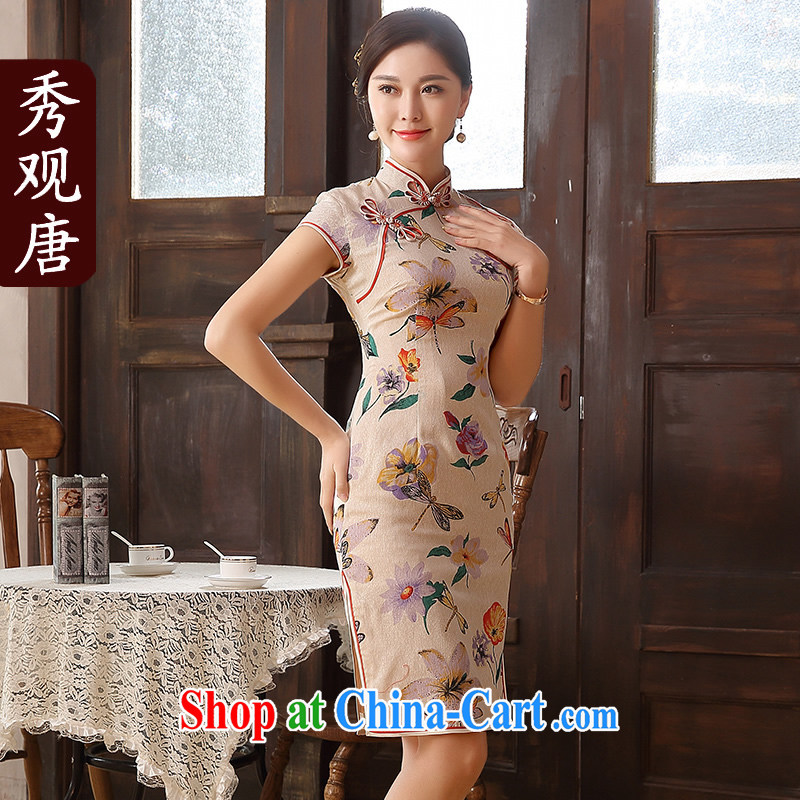 The CYD HO Kwun Tong' definition, summer 2015 new retro cotton the cheongsam high cotton Ma manual take charge QD 5129 fancy L