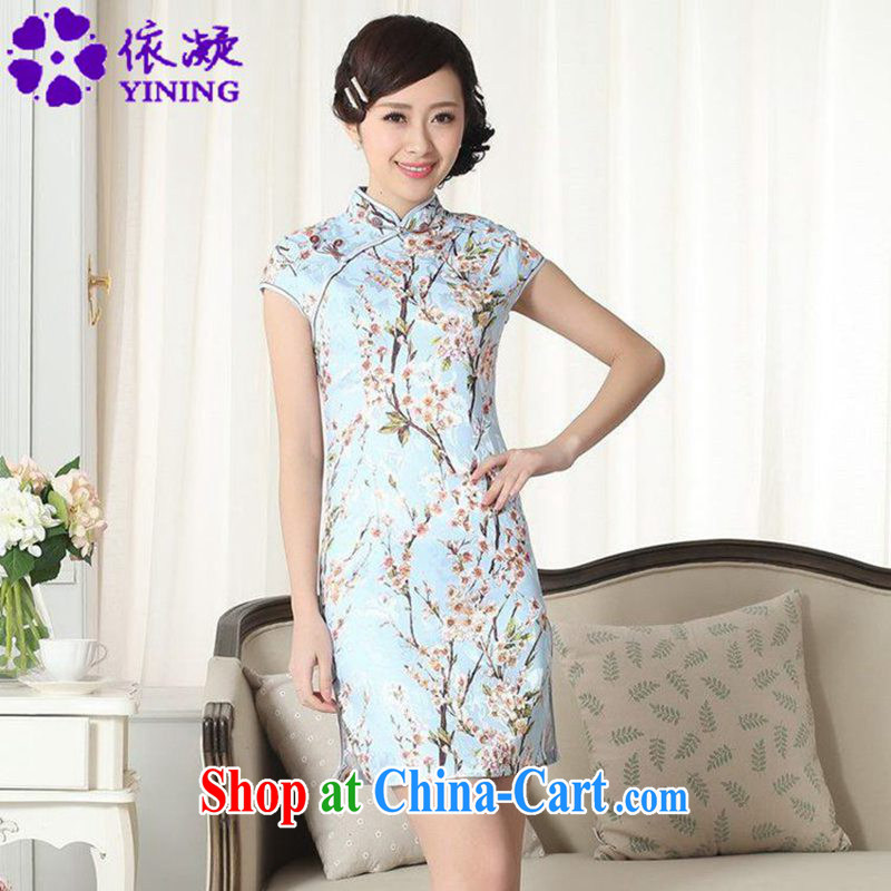 To fuser new female retro ethnic wind improved Chinese qipao Classic tray snaps Phillips cultivating short-sleeve cheongsam dress LGD_D _0263 figure 2 XL