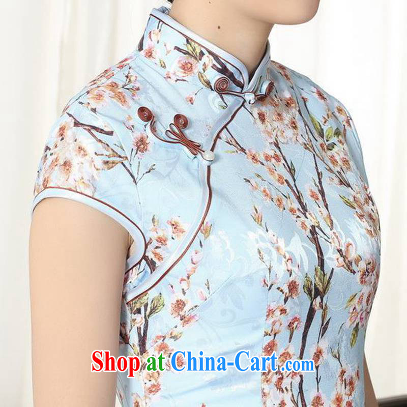 According to fuser new female retro ethnic wind improved Chinese qipao classical-tie Phillips cultivating short-sleeved cheongsam dress LGD/D #0263 figure 2 XL, fuser, and shopping on the Internet