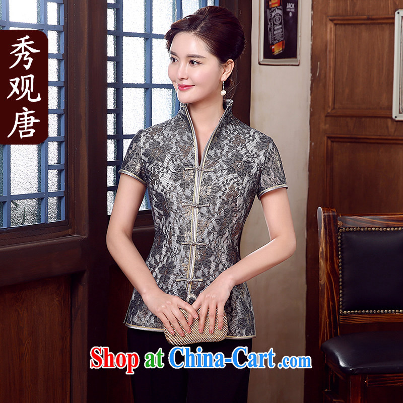 The CYD HO Kwun Tong' Emily Yen 2015 New Composite lace Tang Women's clothes, Ms. Tang Replace T-shirt TD 5331 fancy XXL