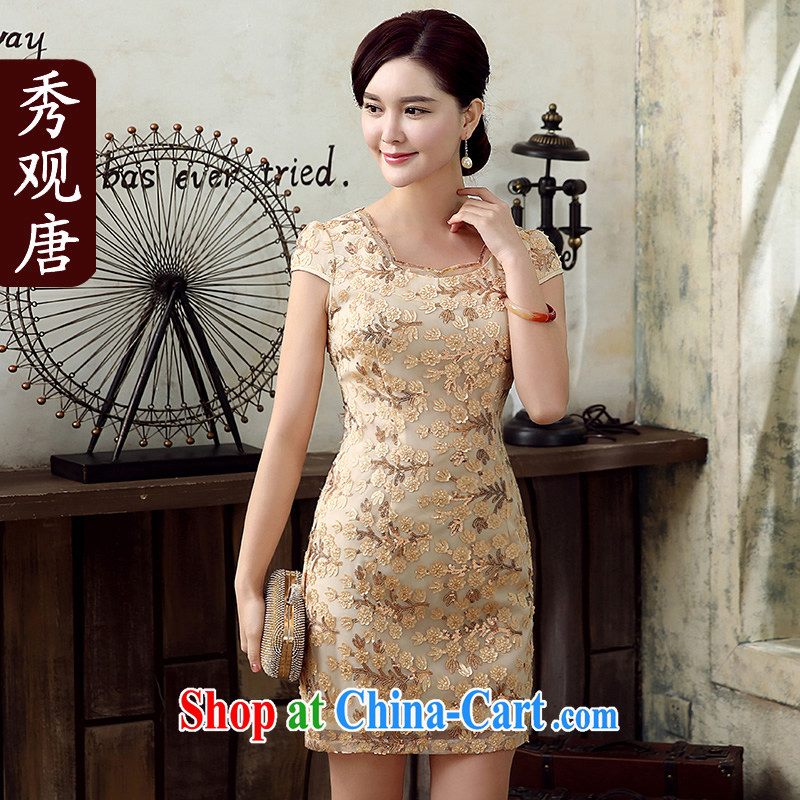 The CYD HO Kwun Tong' love / Summer 2015 new retro women's clothing dresses improved fashion cheongsam dress KD 5149 apricot L