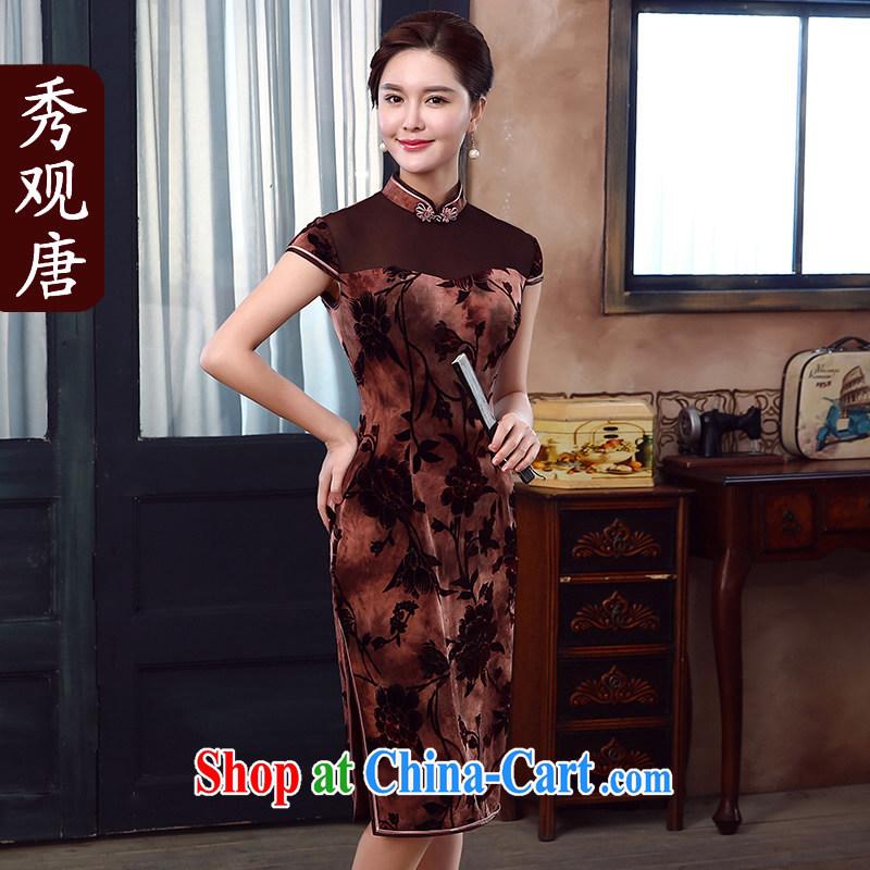 The CYD HO Kwun Tong' in Hong Kong 2015 summer new, improved qipao fashion, long antique dresses skirts QD 5337 brown M