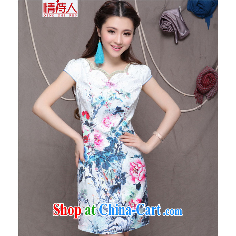 and poet 2015 China wind National wind improved stylish commuter cultivating graphics thin cheongsam FF 9904 white M