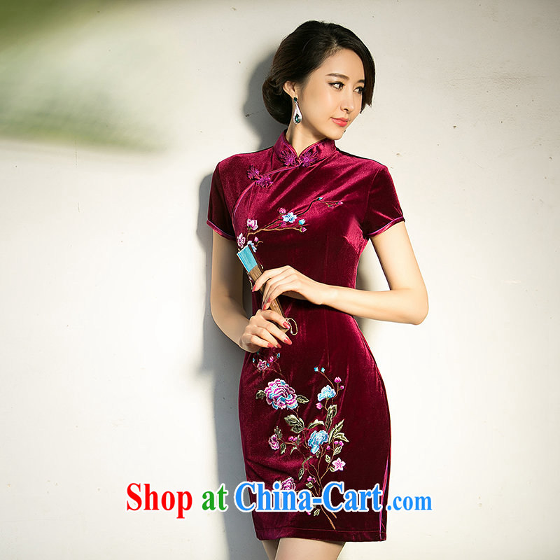 The cross-sectoral Elizabeth cloud 2015 new embroidered improved daily outfit velour in replica older cheongsam dress cheongsam dress ZA 074 deep red 2 XL