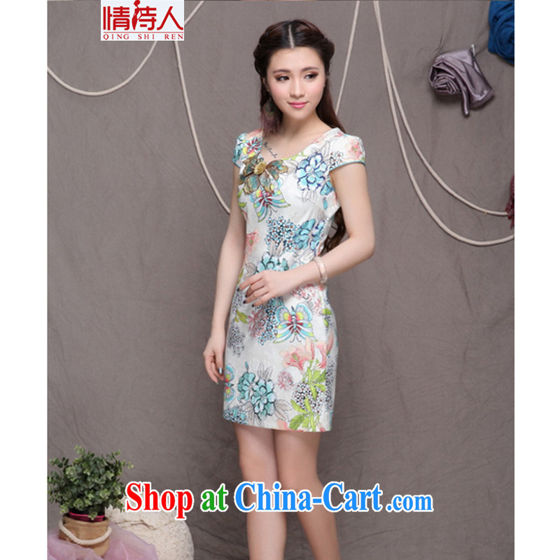 and poet 2015 embroidered cheongsam high-end ethnic wind stylish Chinese qipao dress retro beauty dresses FF 990 blue blue M