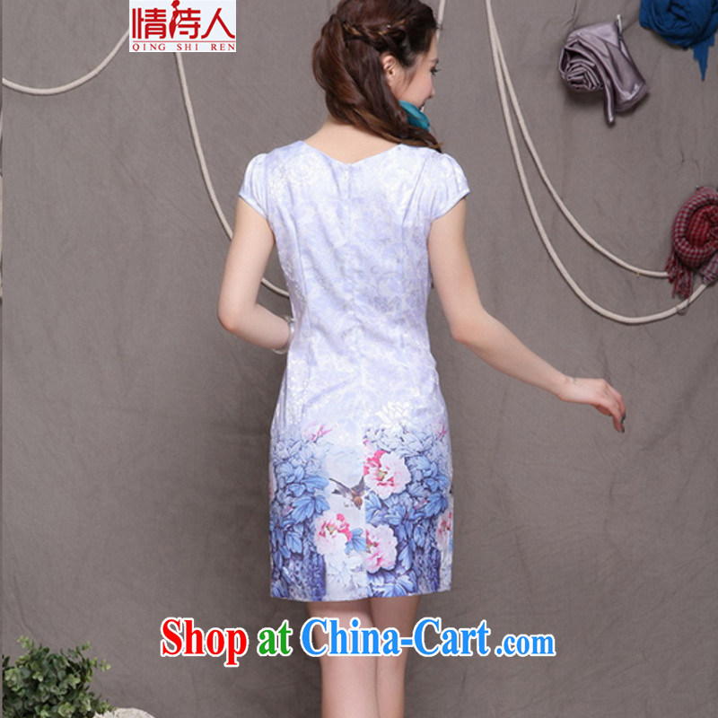 and poet 2015 high-end Ethnic Wind stylish Chinese qipao dress retro beauty graphics thin cheongsam FF 9902 violet S