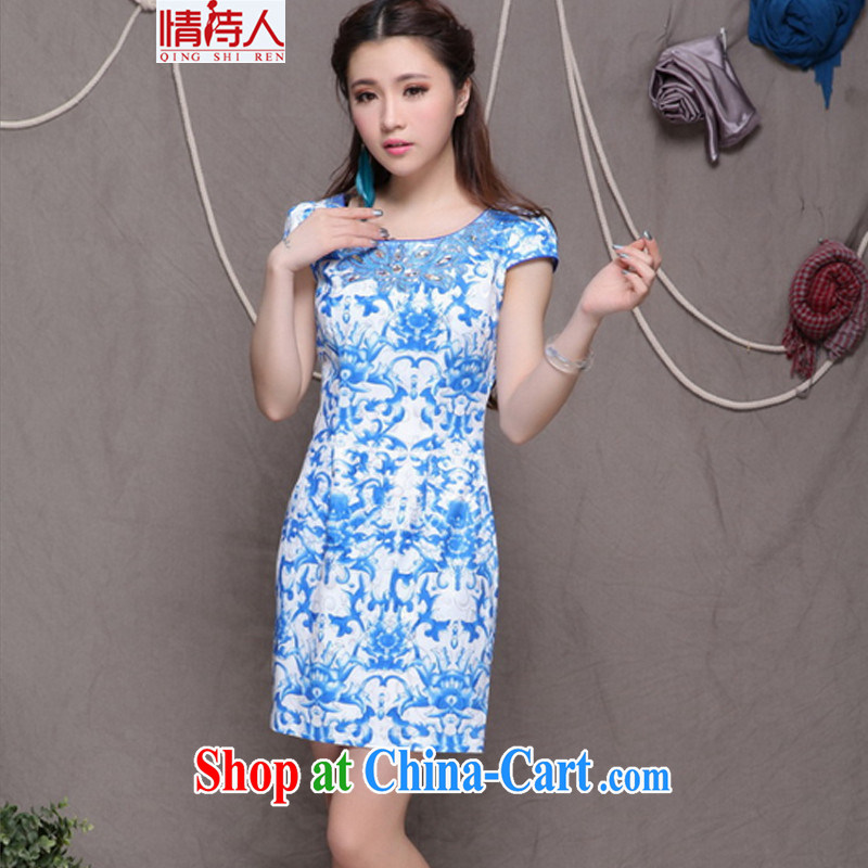 and poet 2015 high-end Ethnic Wind stylish Chinese qipao dress retro beauty graphics thin cheongsam FF 9901 blue blue S
