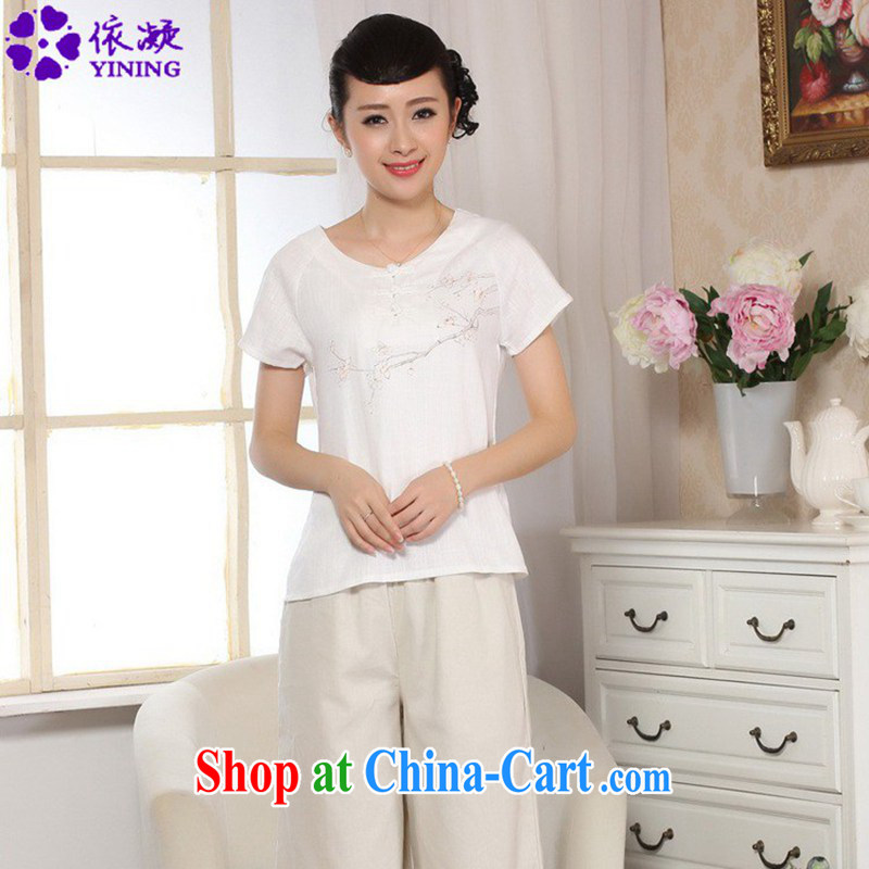 According to fuser new female Ethnic Wind improved Chinese qipao round ends the charge-back hand-painted short-sleeved Tang fitted T-shirt WNS/A #0072 white 2XL