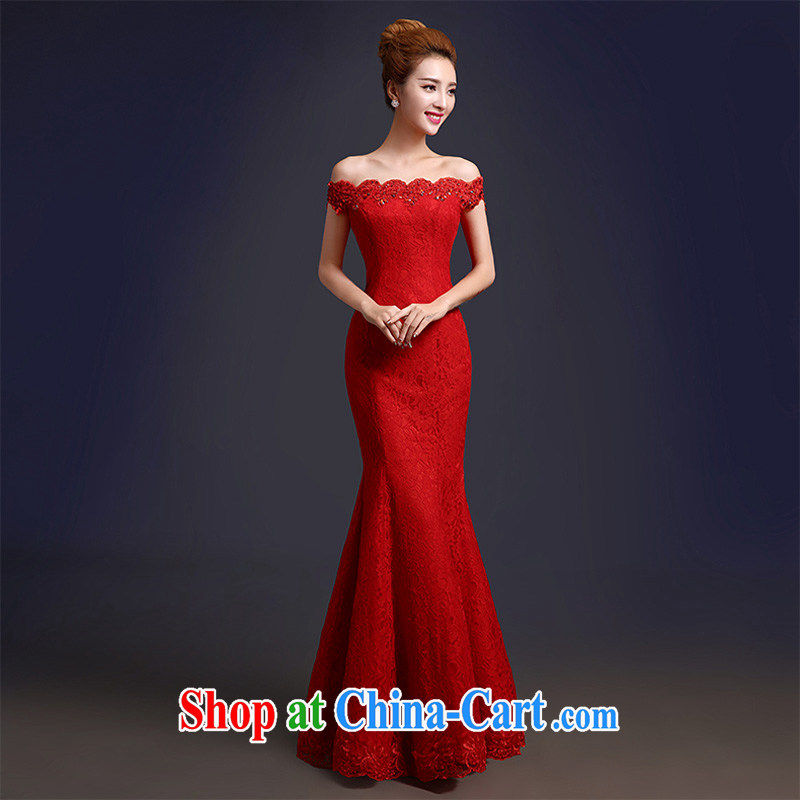 Toasting Service Bridal spring 2015 New red long sleek one shoulder at Merlion beauty dresses summer evening dress red M
