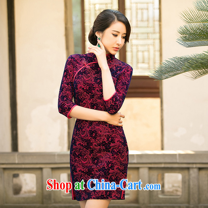 The cross-sectoral Windsor light talk about 2015 new summer scouring pads, older cheongsam dress improved daily qipao cheongsam dress ZA 078 by red 2 XL