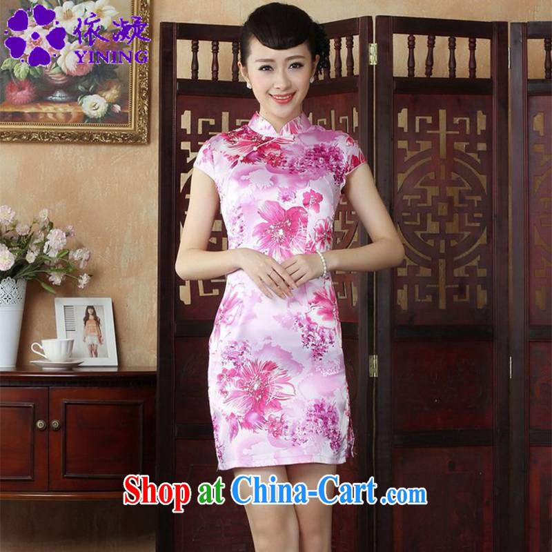 In accordance with fuser summer stylish new female Chinese improved Chinese qipao, for the hard disk for cultivating short cheongsam dress LGD/D #0003 figure 2 XL