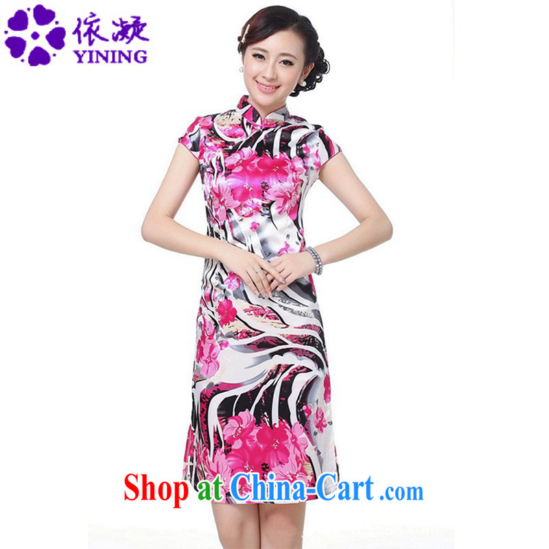 According to fuser summer new female ethnic wind improved Chinese qipao, for a tight Classic tray snaps cultivating short cheongsam dress LGD/D #0069 figure 2 XL