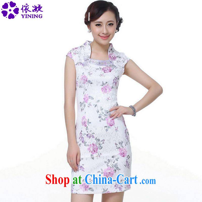 According to fuser summer new female retro ethnic wind improved Chinese qipao short cultivating short-sleeved cheongsam dress LGD/D 0106 #purple 2 XL