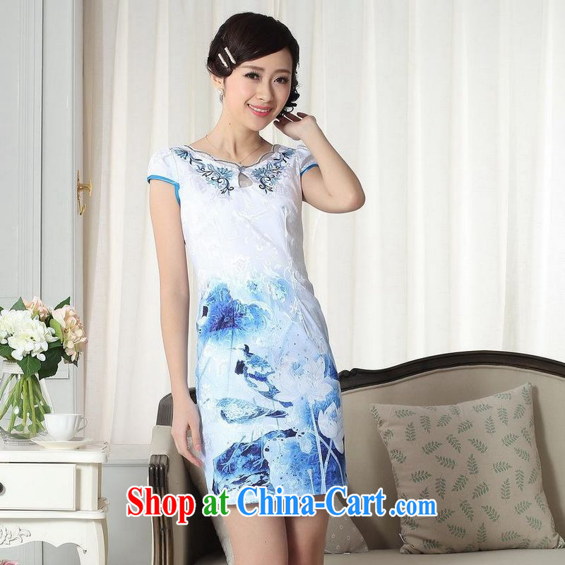 Floor is still building summer Women's clothes elegance new Chinese qipao improved graphics thin short cheongsam picture color 2 XL
