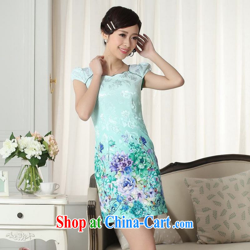 Floor is still building female new ladies jacquard cotton elegance Chinese qipao new improved cheongsam dress picture color 2 XL