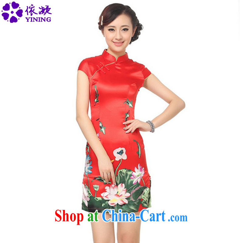 According to fuser summer stylish new female Ethnic Wind daily Chinese qipao classical-tie floral beauty short sleeve cheongsam dress LGD/D 0183 # -C red 2 XL