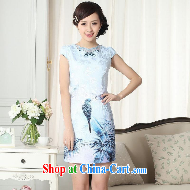 Floor is still building female new lady stylish and elegant style beauty with Tang cheongsam dress new improved cheongsam dress picture color 2 XL