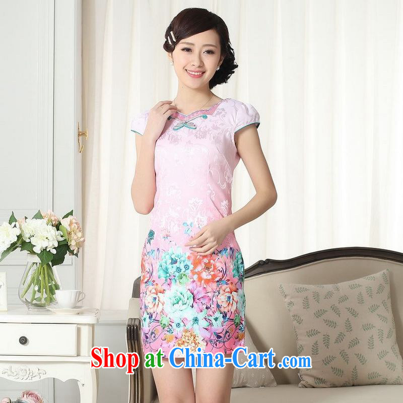 Floor is floor summer new female elegance short Chinese qipao improved graphics thin short cheongsam picture color 2 XL