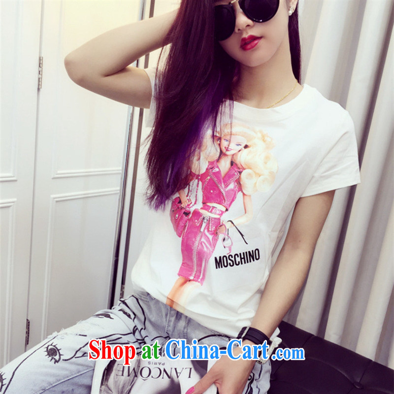 Ya-ting store the European site 2015 summer new female cartoon pattern Barbie doll fashion 100 ground short-sleeve shirt T white L