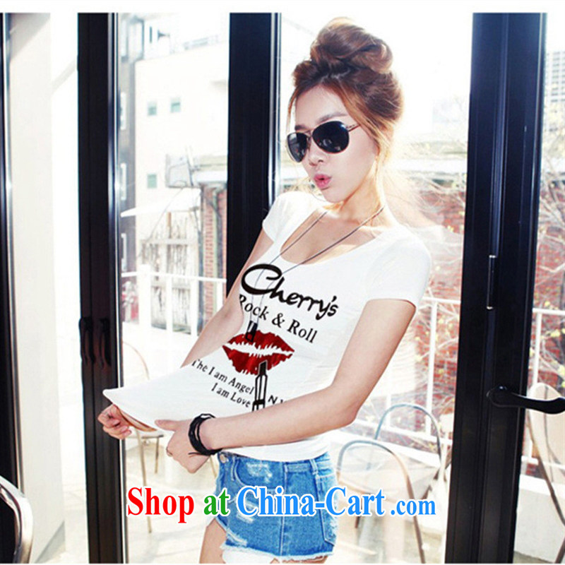 Ya-ting store summer 2015 women with new, generation, stamp duty tight short-sleeved round-collar, shirt T sense of solid black shirt L