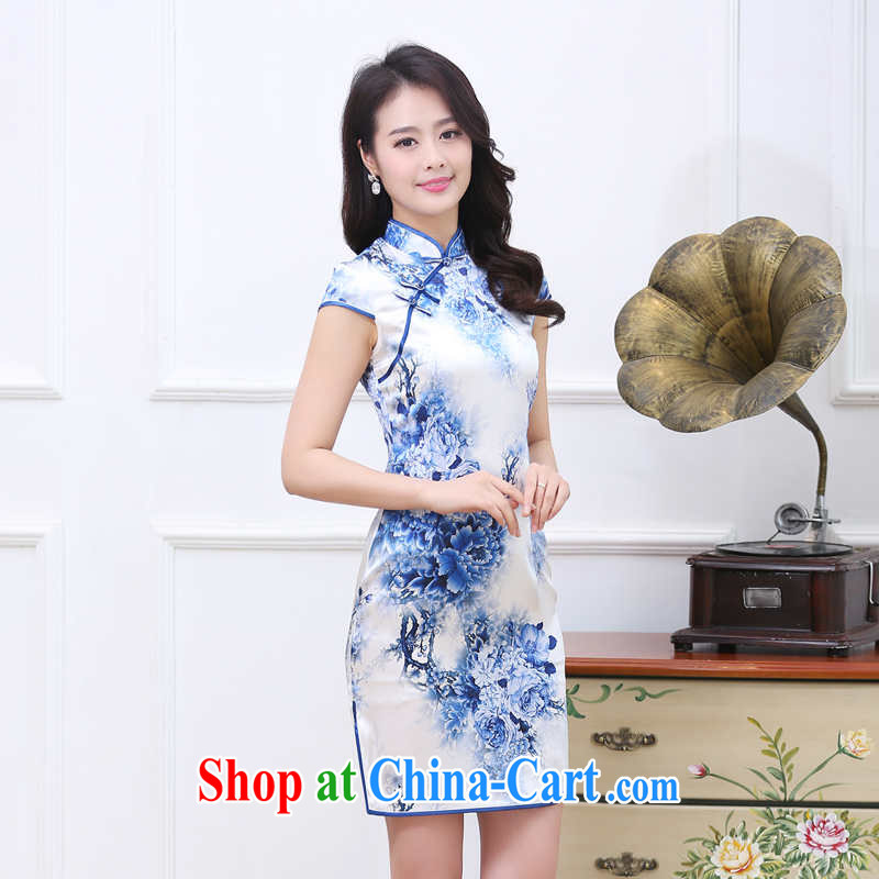 Toner mud snails summer 2015 new female sauna silk silk dress blue and white porcelain Lotus Pond Silk Cheongsam short skirt style short-sleeve classic cheongsam Chinese wind blue and white porcelain XXL