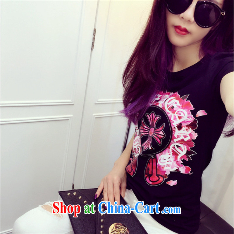 Ya-ting store European site summer 2015 women new stamp T shirts stylish 100 ground short-sleeved, generation, cotton T black are code