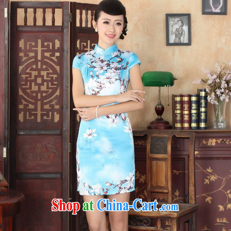 Property is still property, new summer elegance Chinese qipao Chinese graphics thin short cheongsam picture color 2 XL, floor is floor, shopping on the Internet