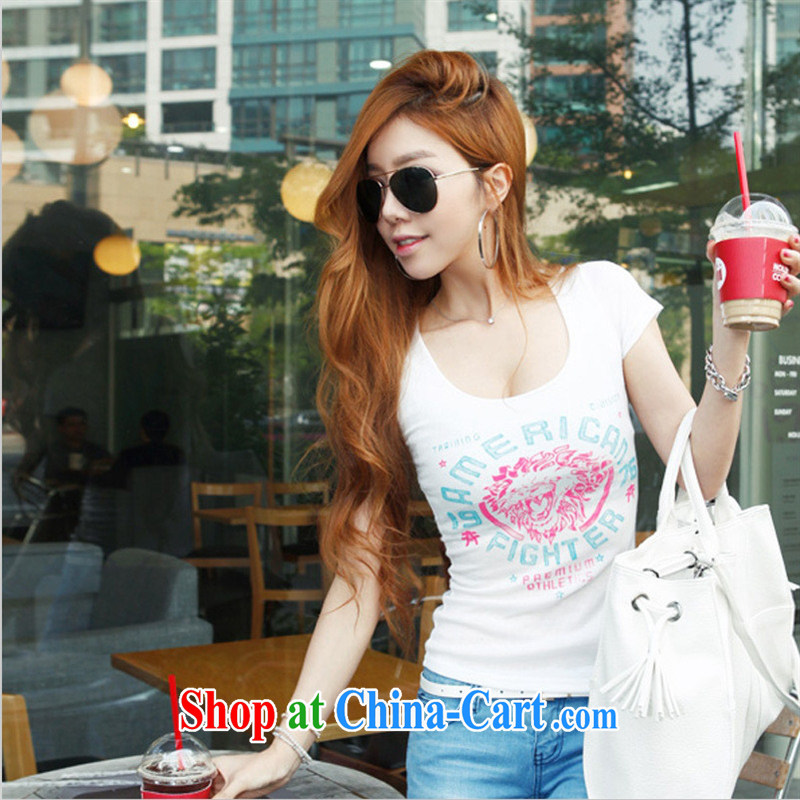 Ya-ting store summer 2015 women new Mostar, stamp duty cultivating short-sleeved U collar T shirts sexy solid white shirt L