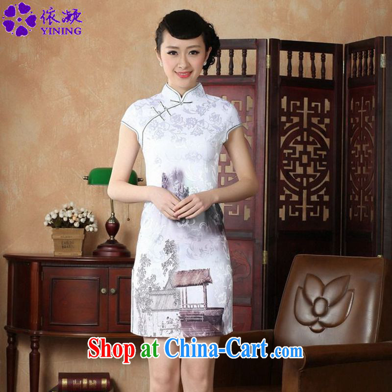According to fuser summer new retro improved daily Chinese qipao painting to spend cultivating short Chinese qipao dress LGD_D 0227 _picture color 2 XL