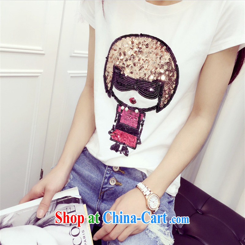 Ya-ting store European site summer 2015 female new robots, dolls, short-sleeved stylish 100 ground T pension white L