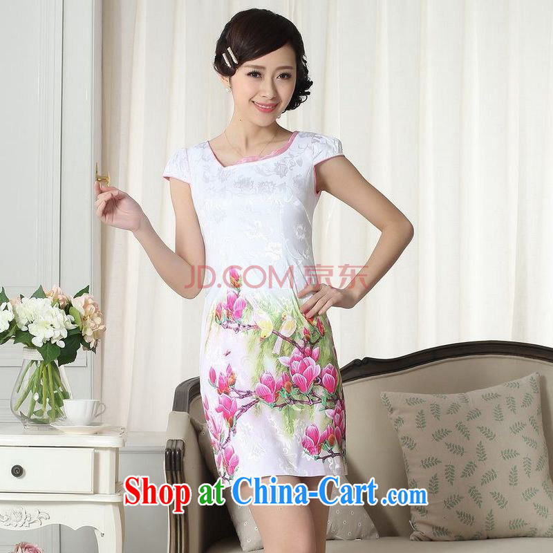 For Pont Sond� Diane summer new female short elegance Chinese qipao improved graphics thin short cheongsam picture color L