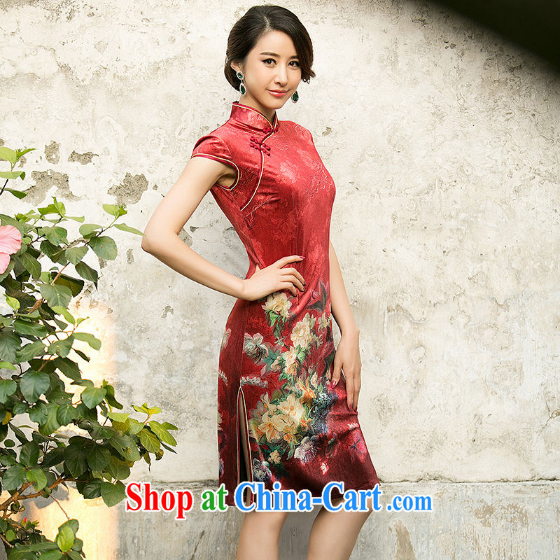 The cross-sectoral and Windsor, 2015 new spring and summer outfit improved wool stamp National wind cheongsam dress ZA 079 red 2 XL