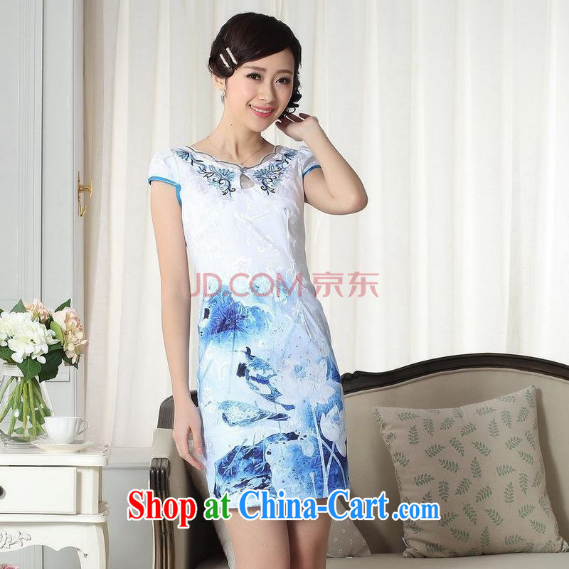 For Pont Sond� Diane summer Women's clothes elegance new Chinese qipao improved graphics thin short cheongsam picture color XXL