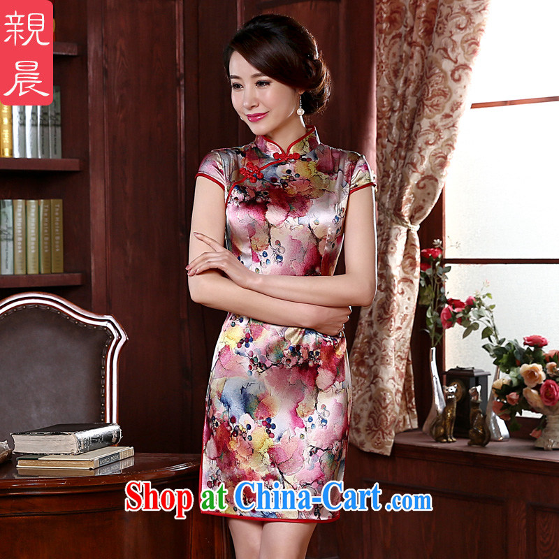 pro-am 2015 New Silk Cheongsam dress (Spring/Summer retro dos santos day Silk Cheongsam dress improved stylish red L